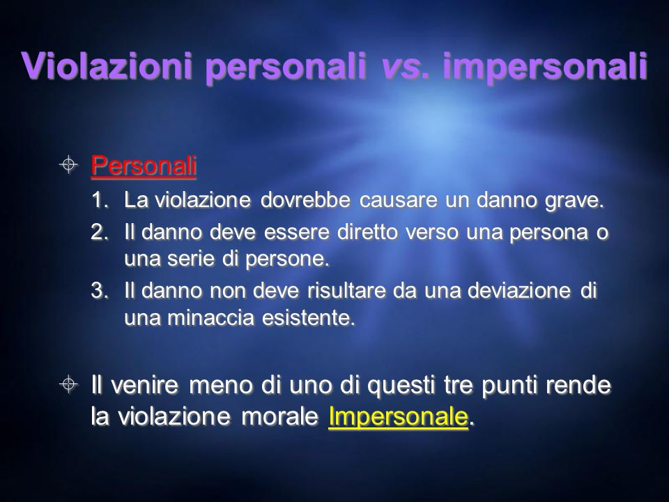Violazioni personali vs. impersonali