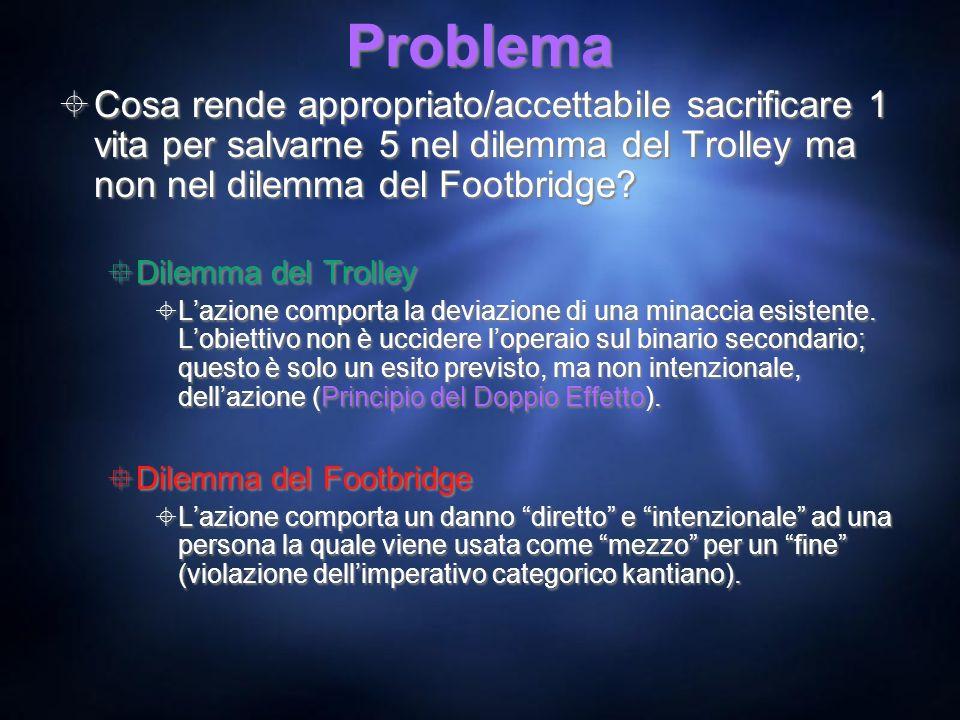 Problema Cosa rende appropriato/accettabile sacrificare 1 vita per salvarne 5 nel dilemma del Trolley ma non nel dilemma del Footbridge