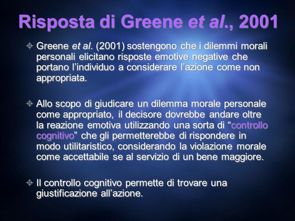 Risposta di Greene et al., 2001