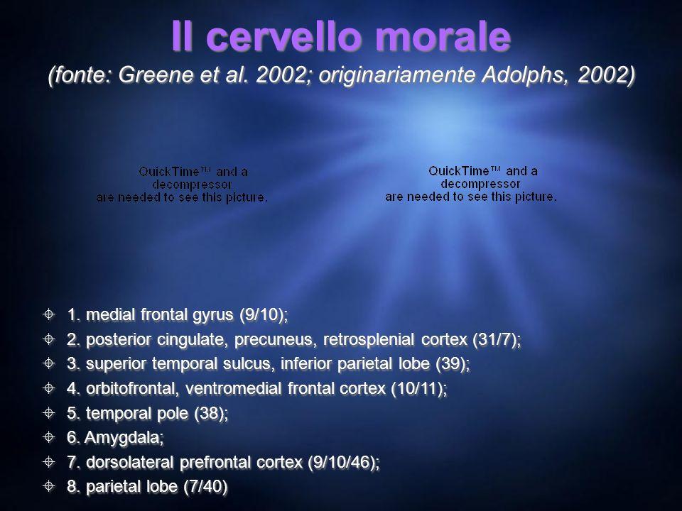 Il cervello morale (fonte: Greene et al