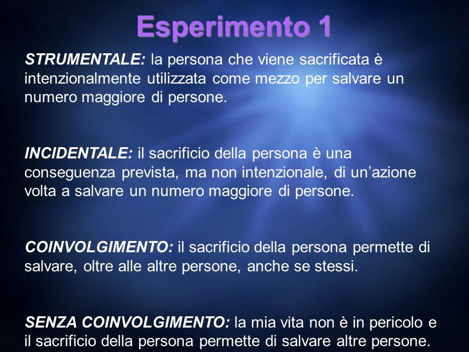 Esperimento 1 STRUMENTALE: la persona che viene sacrificata è intenzionalmente utilizzata come mezzo per salvare un numero maggiore di persone.