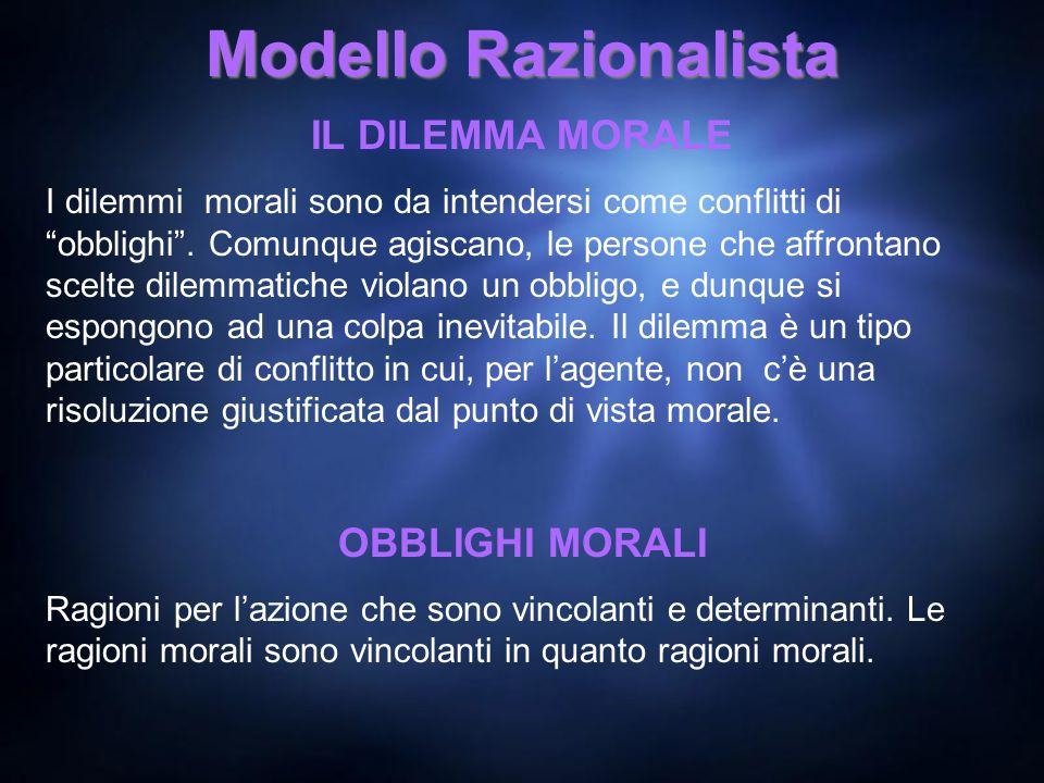 Modello Razionalista IL DILEMMA MORALE OBBLIGHI MORALI
