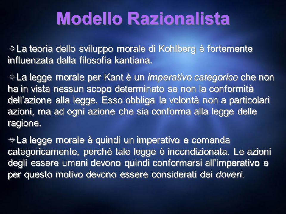 Modello Razionalista La teoria dello sviluppo morale di Kohlberg è fortemente influenzata dalla filosofia kantiana.