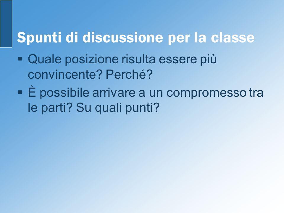 Spunti di discussione per la classe