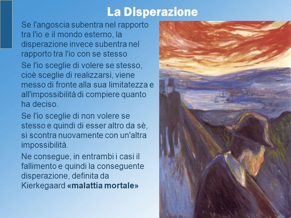 La Disperazione Se l angoscia subentra nel rapporto tra l io e il mondo esterno, la disperazione invece subentra nel rapporto tra l io con se stesso.