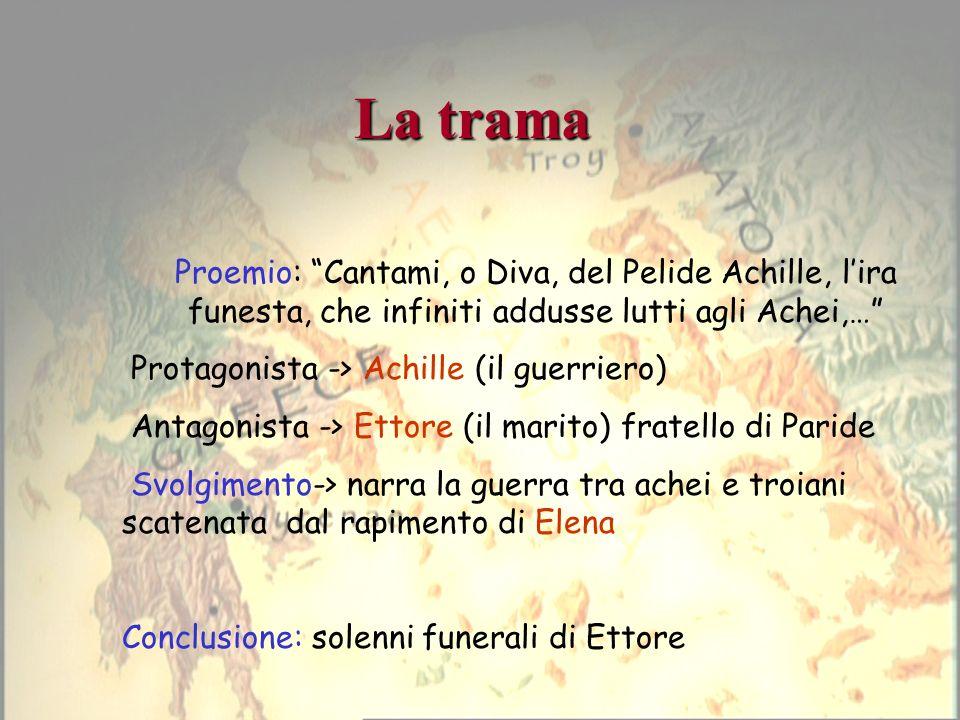 La trama Proemio: Cantami, o Diva, del Pelide Achille, l'ira funesta, che infiniti addusse lutti agli Achei,…