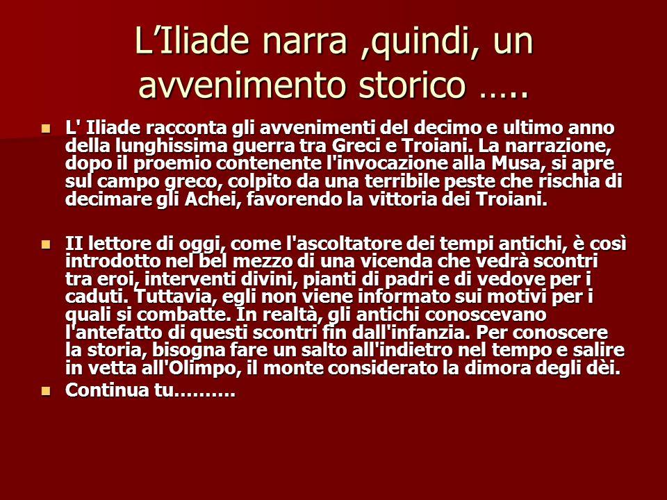 L'Iliade narra ,quindi, un avvenimento storico …..