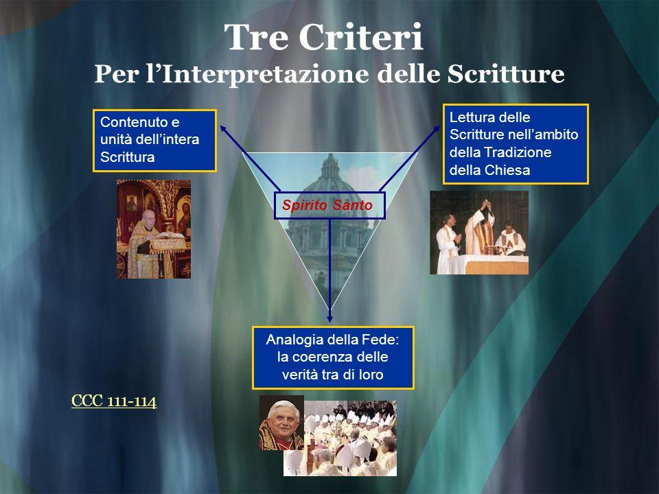 Tre Criteri Per l'Interpretazione delle Scritture