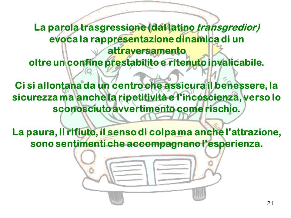 La parola trasgressione (dal latino transgredior)