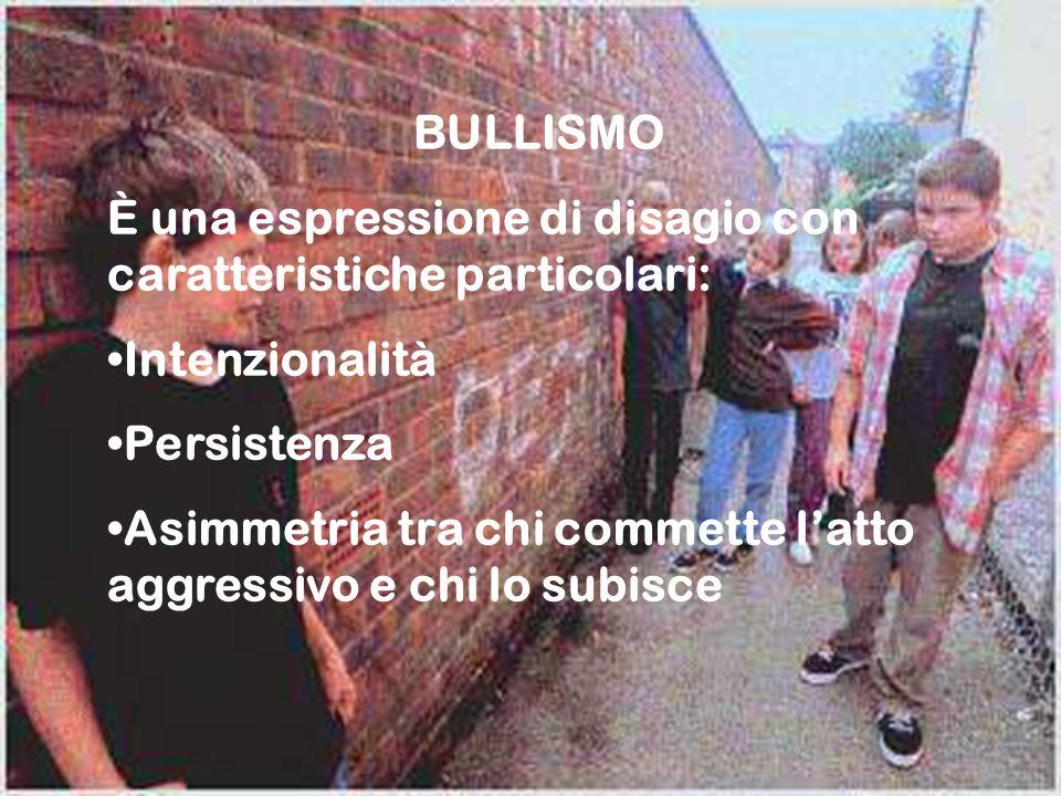 BULLISMO È una espressione di disagio con caratteristiche particolari: Intenzionalità. Persistenza.