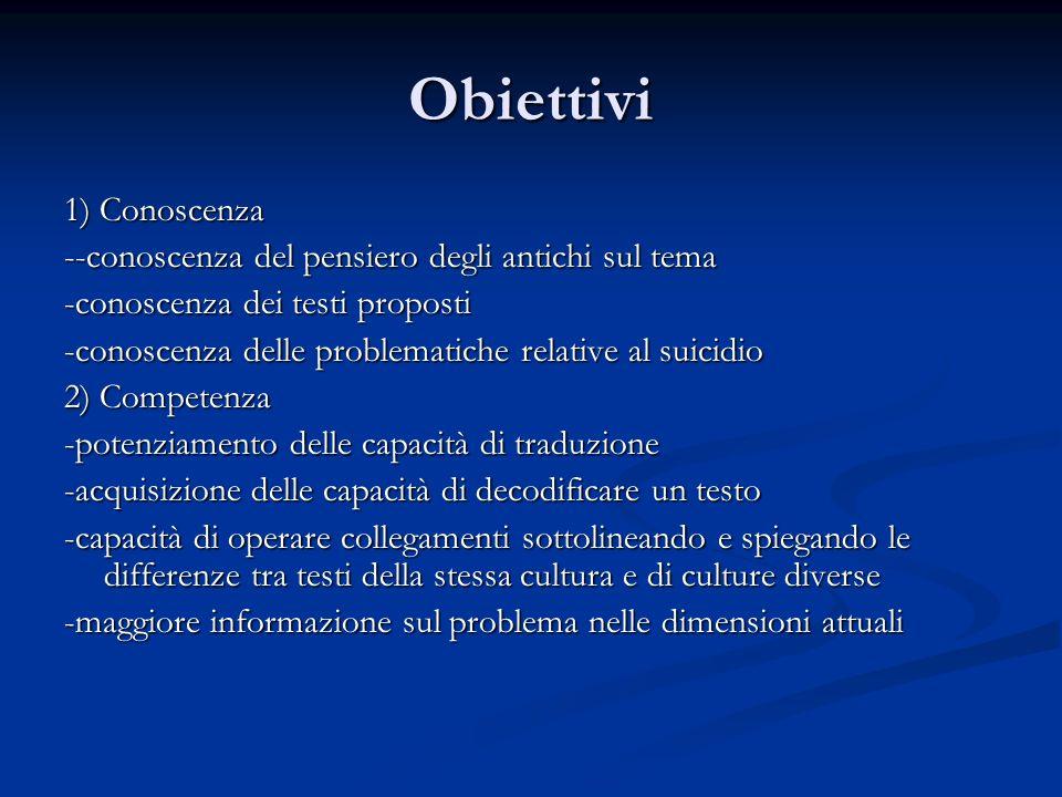 Obiettivi 1) Conoscenza