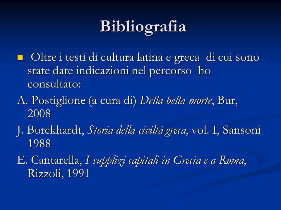 Bibliografia Oltre i testi di cultura latina e greca di cui sono state date indicazioni nel percorso ho consultato: