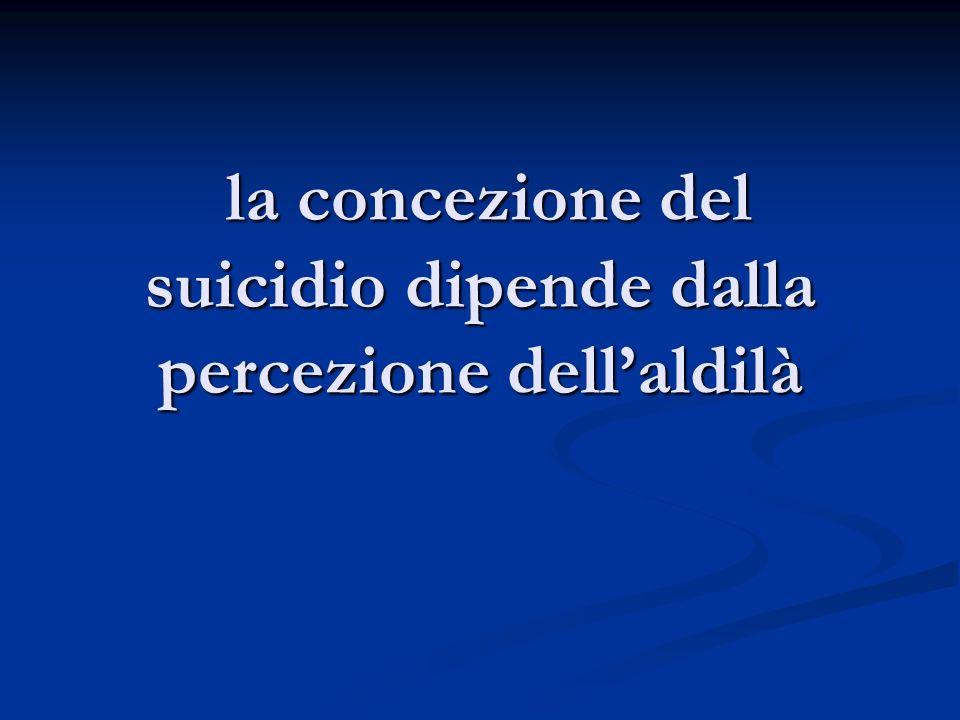 la concezione del suicidio dipende dalla percezione dell'aldilà