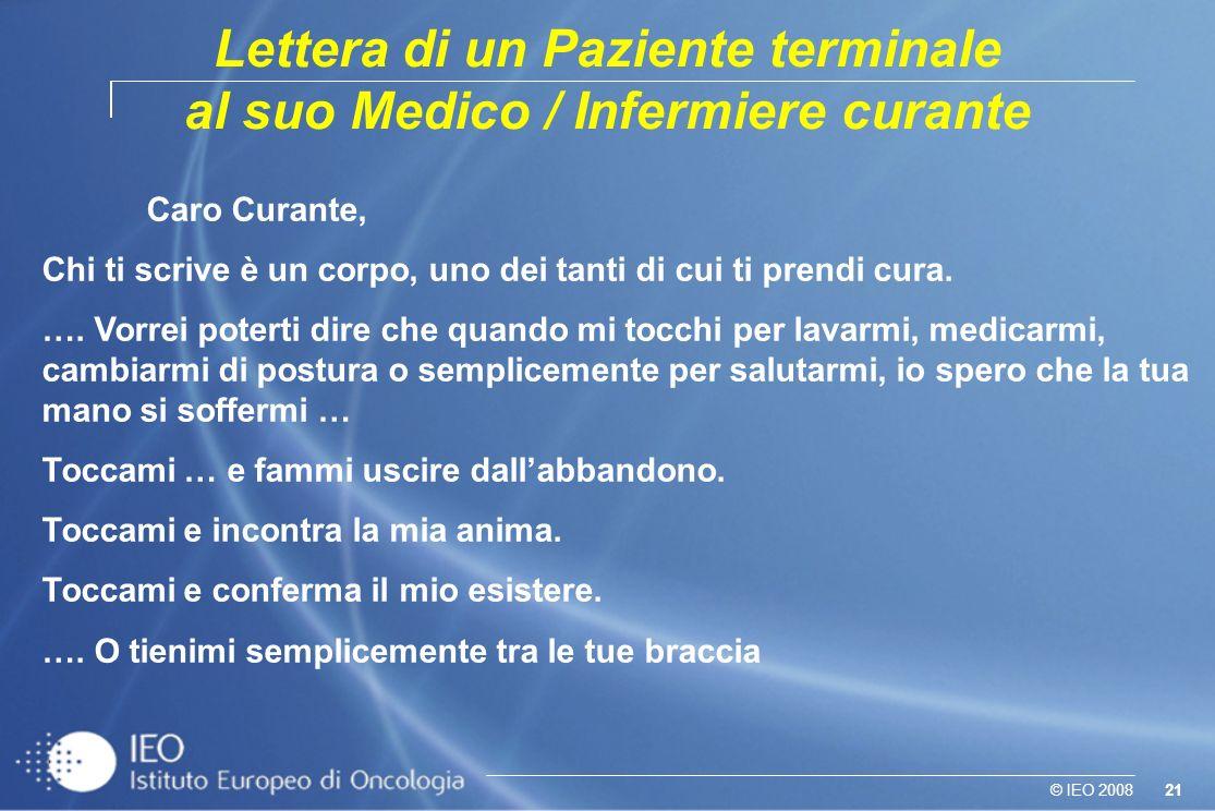 Lettera di un Paziente terminale al suo Medico / Infermiere curante