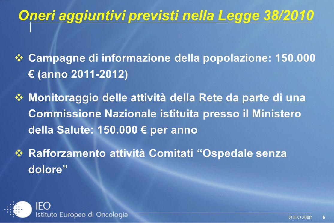 Oneri aggiuntivi previsti nella Legge 38/2010