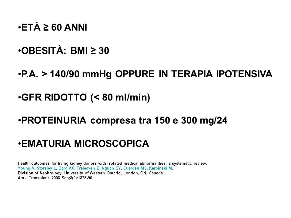 P.A. > 140/90 mmHg OPPURE IN TERAPIA IPOTENSIVA