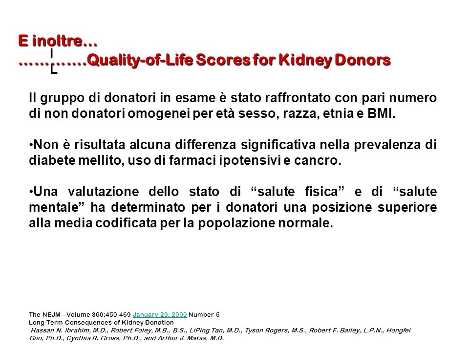 ………….Quality-of-Life Scores for Kidney Donors