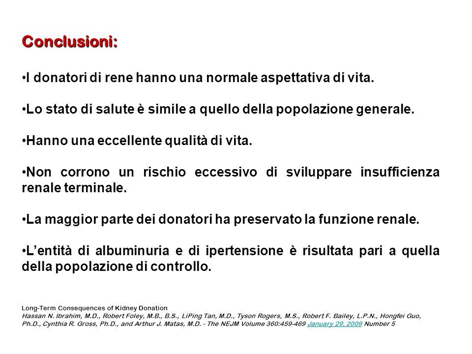 Conclusioni: I donatori di rene hanno una normale aspettativa di vita.