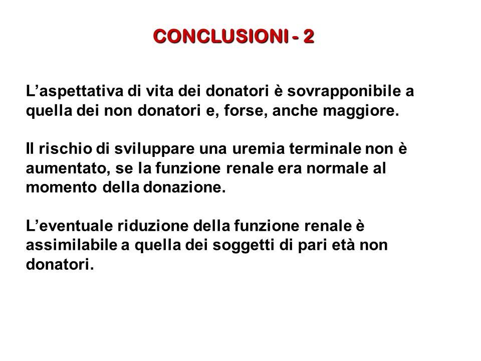 CONCLUSIONI - 2 L'aspettativa di vita dei donatori è sovrapponibile a quella dei non donatori e, forse, anche maggiore.