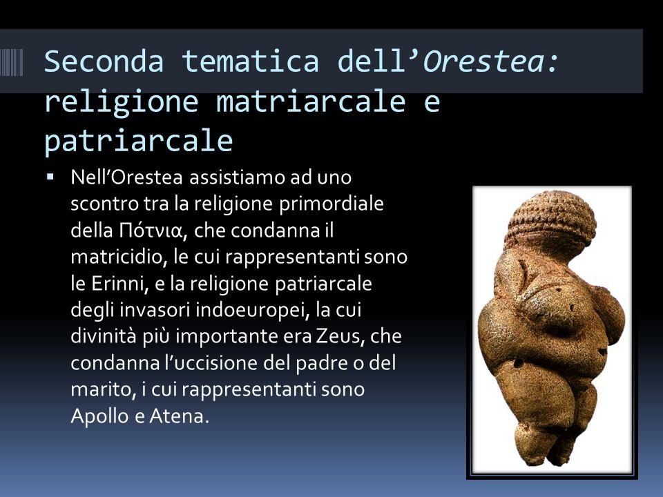 Seconda tematica dell'Orestea: religione matriarcale e patriarcale
