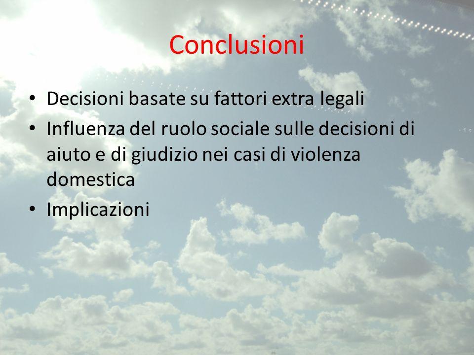 Conclusioni Decisioni basate su fattori extra legali
