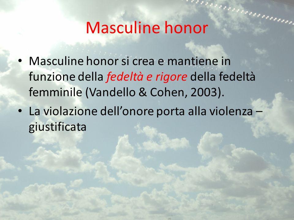 Masculine honor Masculine honor si crea e mantiene in funzione della fedeltà e rigore della fedeltà femminile (Vandello & Cohen, 2003).