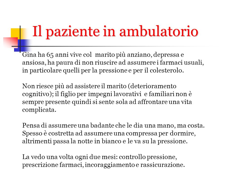 Il paziente in ambulatorio