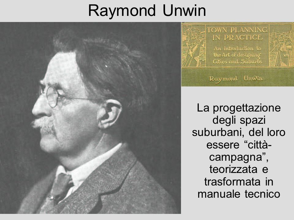 Raymond Unwin La progettazione degli spazi suburbani, del loro essere città-campagna , teorizzata e trasformata in manuale tecnico.