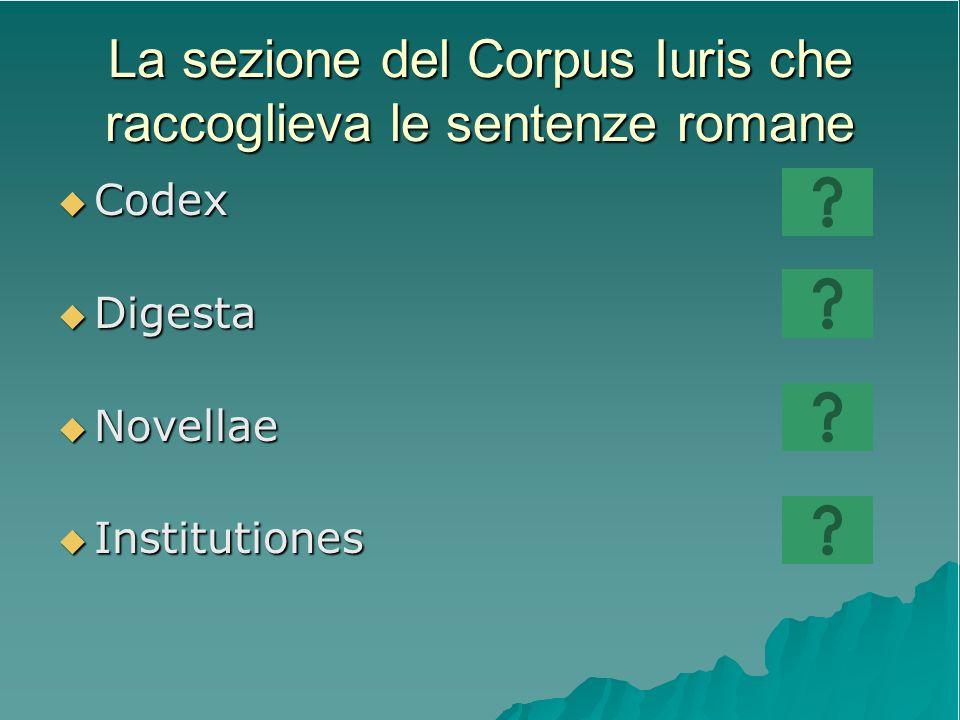 La sezione del Corpus Iuris che raccoglieva le sentenze romane