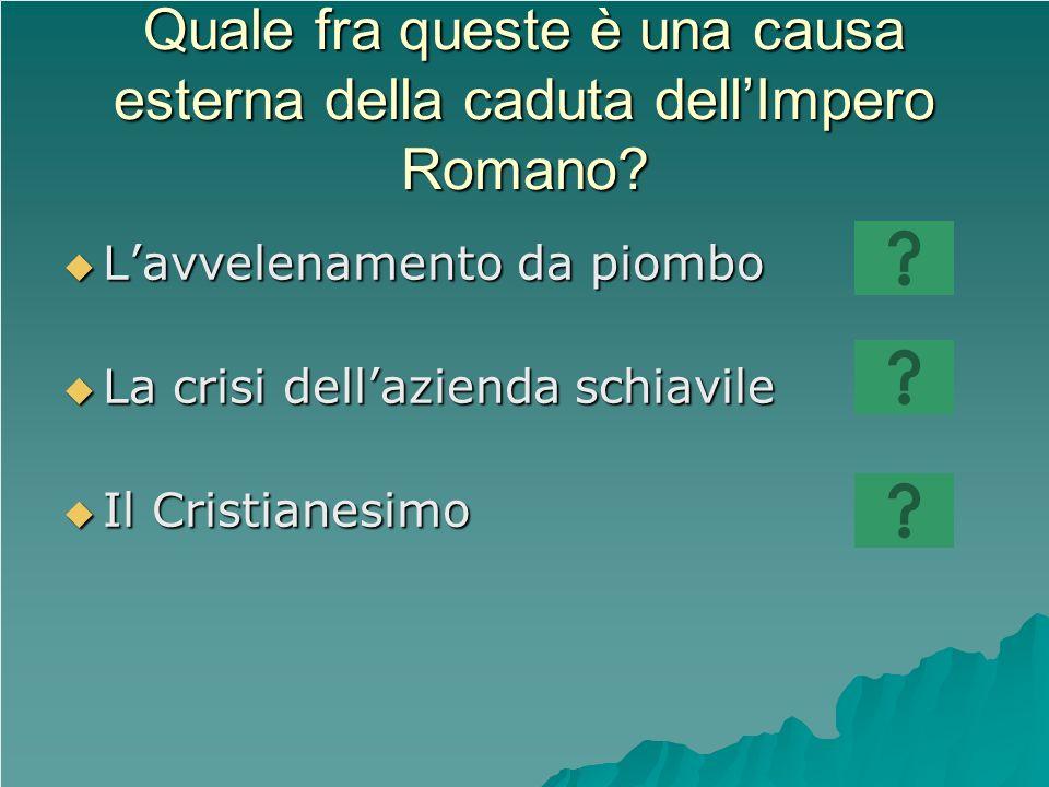 Quale fra queste è una causa esterna della caduta dell'Impero Romano