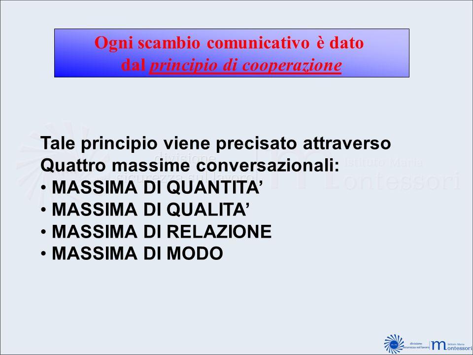 Ogni scambio comunicativo è dato dal principio di cooperazione