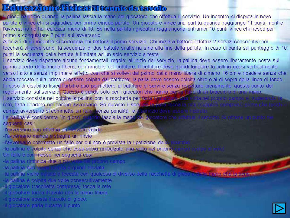 Educazione fisica: il tennis da tavolo