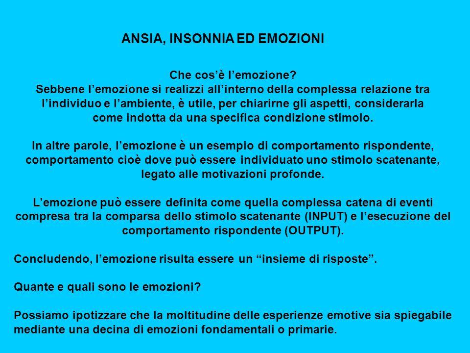 ANSIA, INSONNIA ED EMOZIONI