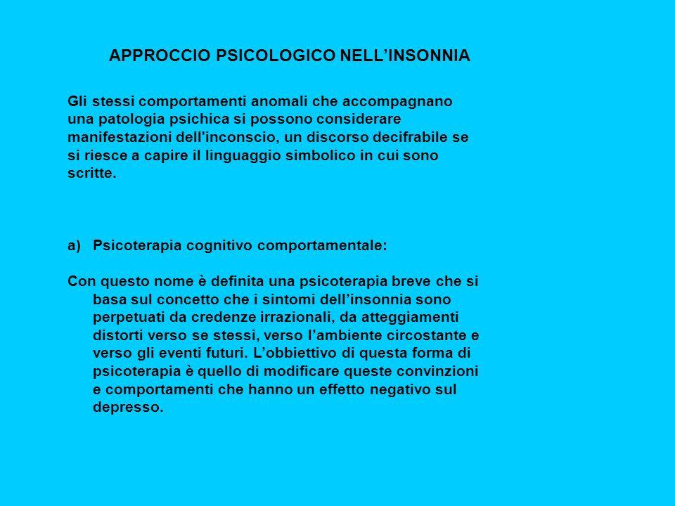 APPROCCIO PSICOLOGICO NELL'INSONNIA