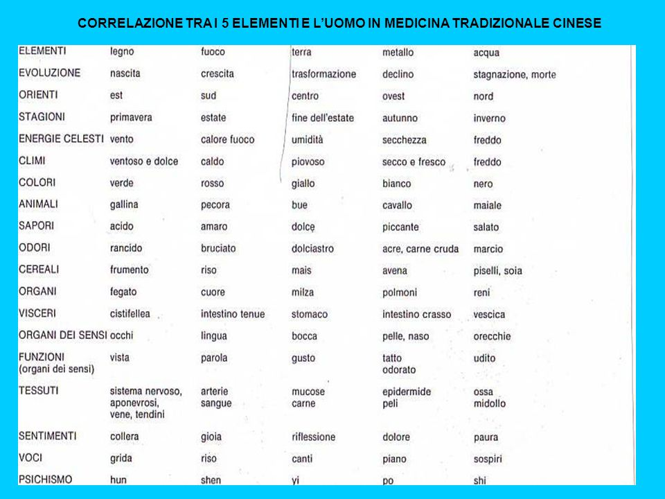 CORRELAZIONE TRA I 5 ELEMENTI E L'UOMO IN MEDICINA TRADIZIONALE CINESE