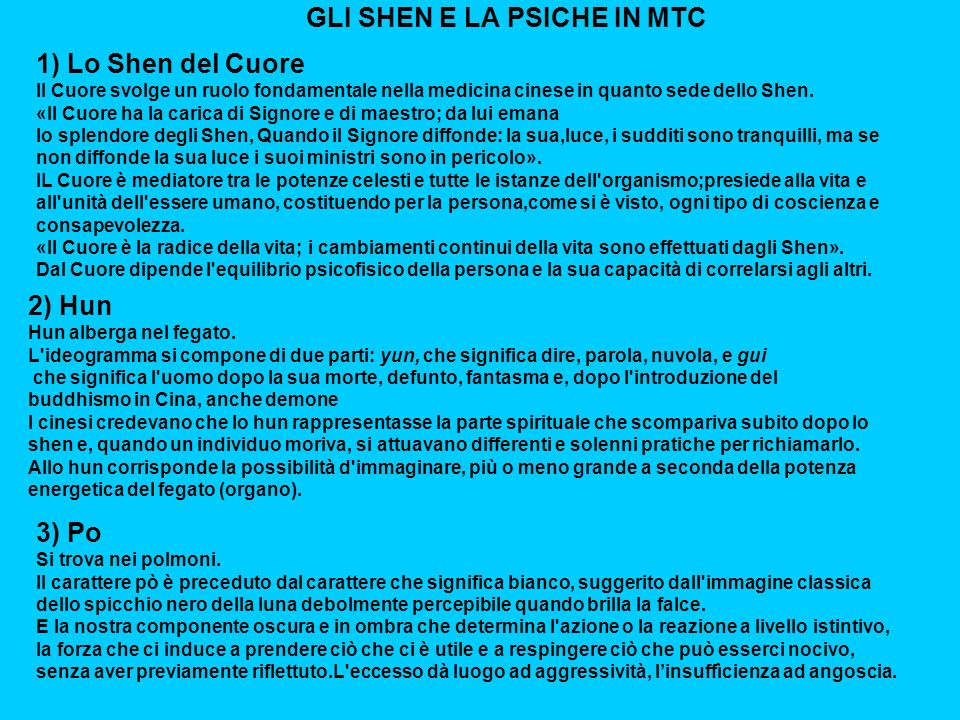 GLI SHEN E LA PSICHE IN MTC