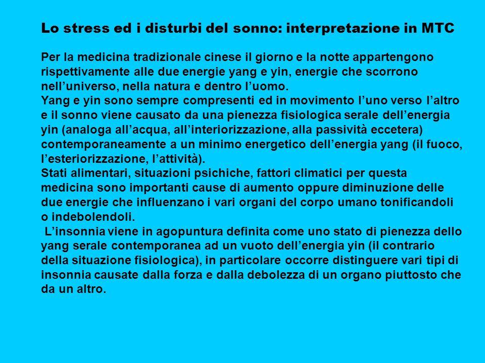 Lo stress ed i disturbi del sonno: interpretazione in MTC