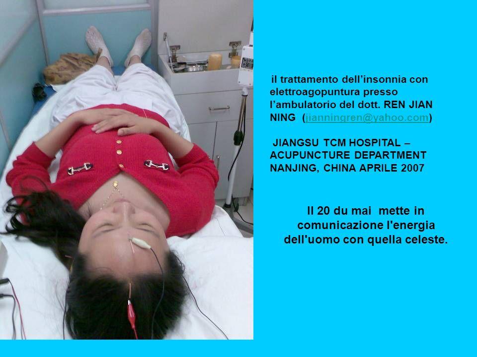 il trattamento dell'insonnia con elettroagopuntura presso l'ambulatorio del dott. REN JIAN NING (jianningren@yahoo.com)