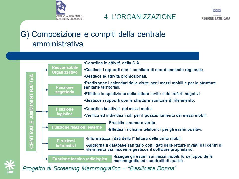 G) Composizione e compiti della centrale amministrativa