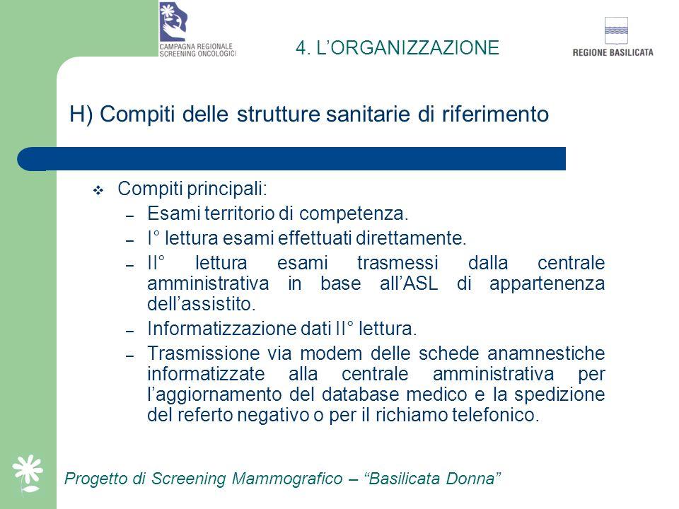 H) Compiti delle strutture sanitarie di riferimento