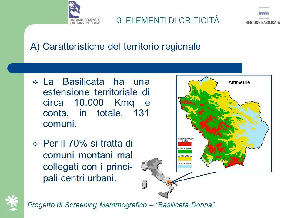 A) Caratteristiche del territorio regionale