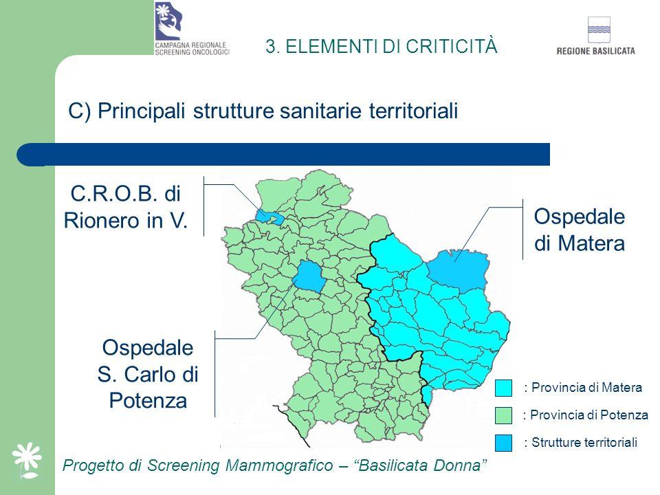 C) Principali strutture sanitarie territoriali