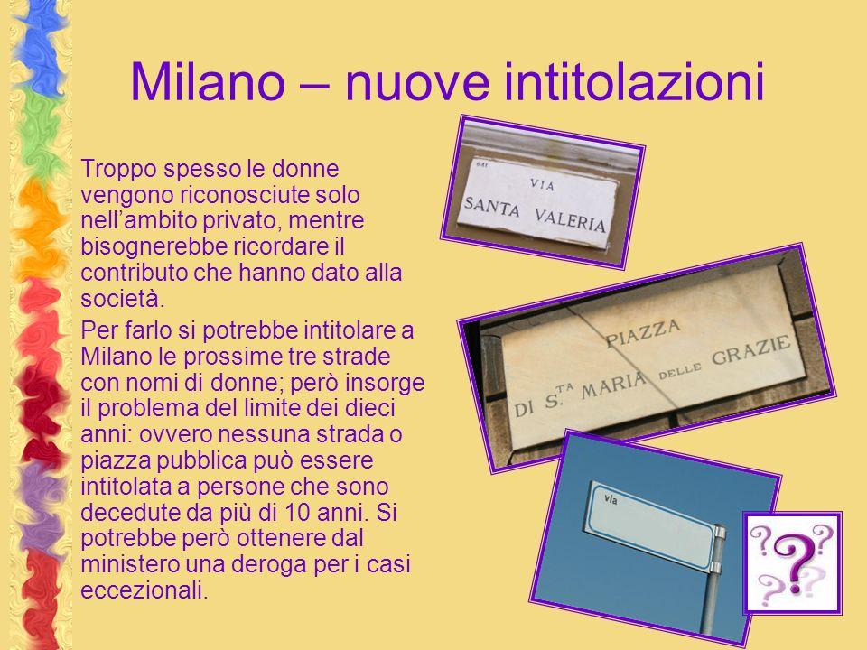 Milano – nuove intitolazioni