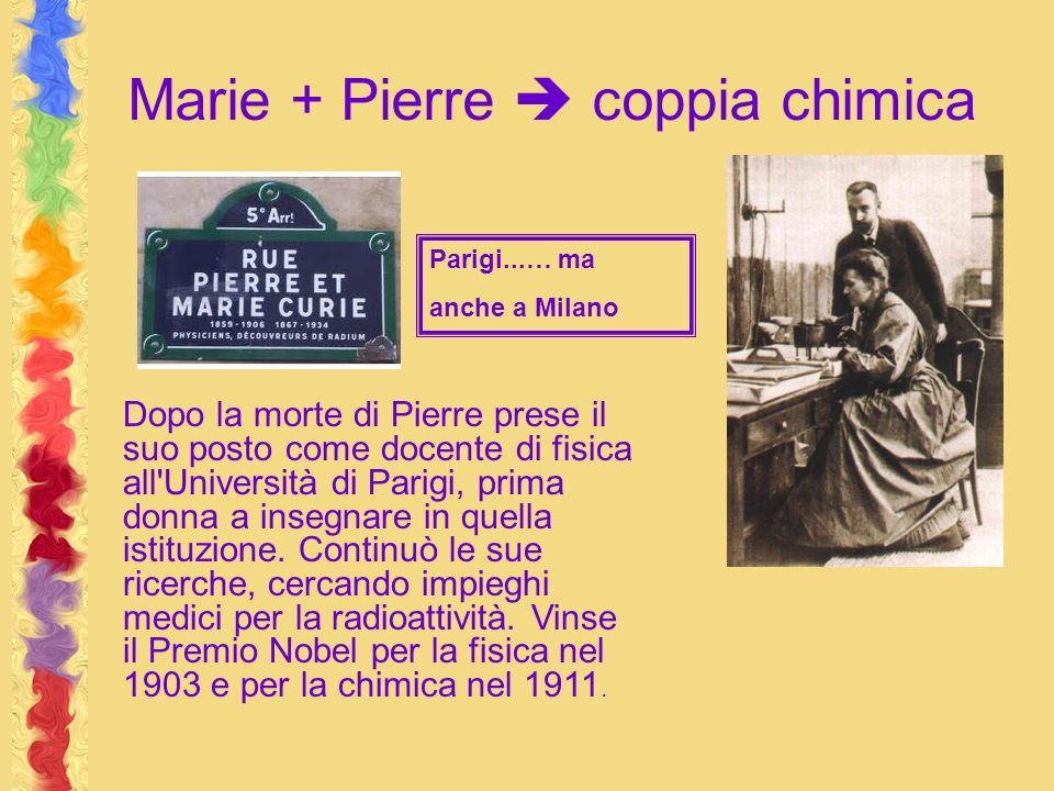 Marie + Pierre  coppia chimica