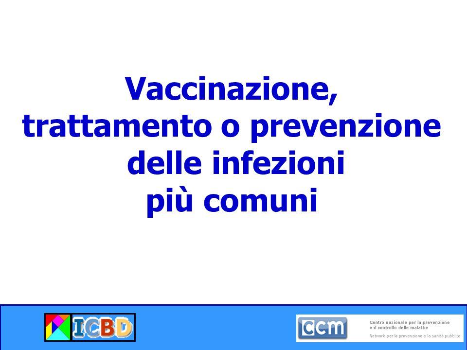 Vaccinazione, trattamento o prevenzione delle infezioni più comuni
