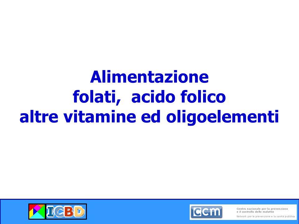 Alimentazione folati, acido folico altre vitamine ed oligoelementi
