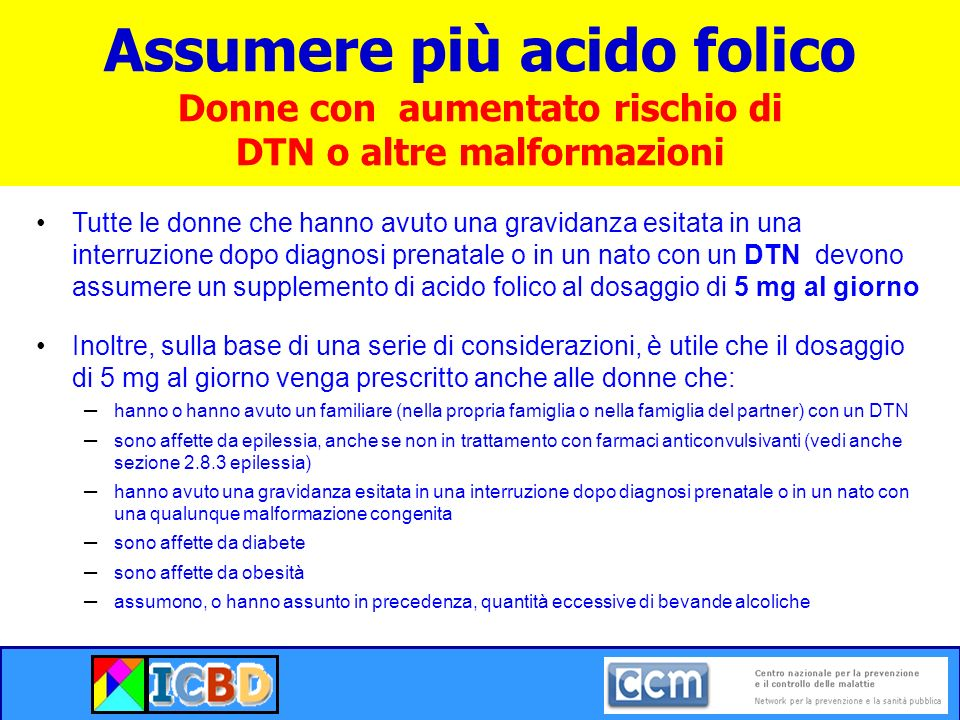 Assumere più acido folico Donne con aumentato rischio di DTN o altre malformazioni