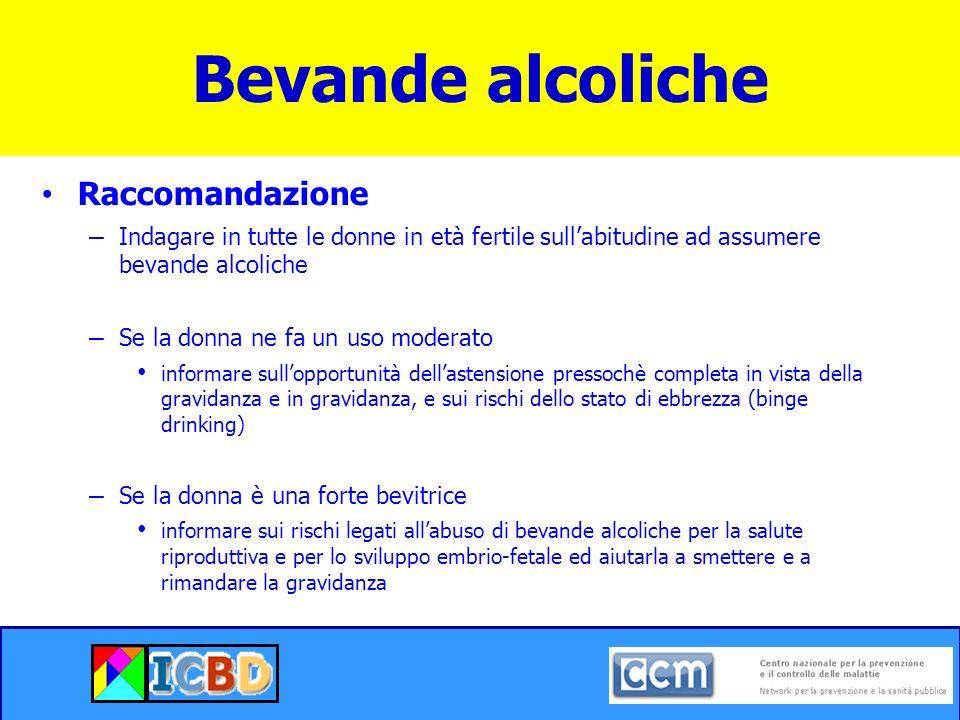 Bevande alcoliche Raccomandazione