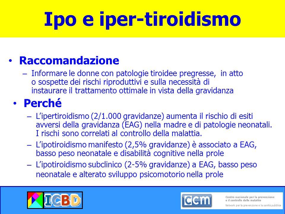 Ipo e iper-tiroidismo Raccomandazione Perché