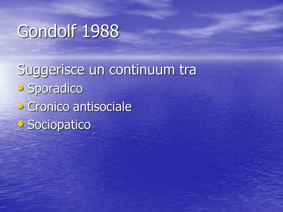 Gondolf 1988 Suggerisce un continuum tra Sporadico Cronico antisociale